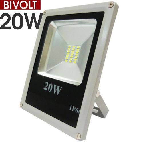 Refletor Led Holofote 20 W Bivolt Prova D Água - Branco Frio