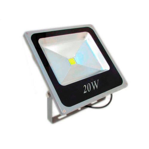 Refletor Led Holofote 20w Bivolt Prova D'água - Branco Frio