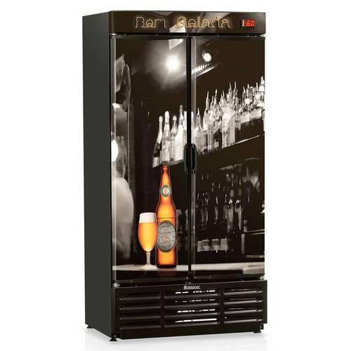 Refrigerador de Bebidas Cervejeira Gelopar 760L Grba-760B Porta Cega Preto Adesivado