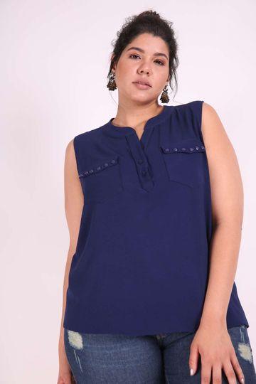 Regata Booble Plus Size Azul Marinho EX