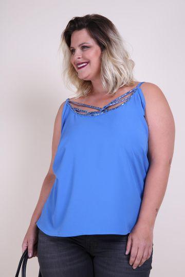 Regata Bordada Plus Size Azul M