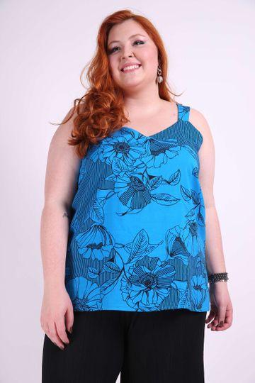 Regata Estampada Plus Size Azul EX