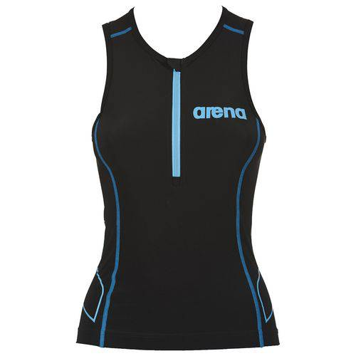 Regata Feminina para Triathlon Tritop St Preta e Azul Arena - PP