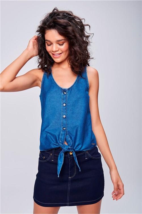 Regata Jeans com Amarração e Botões