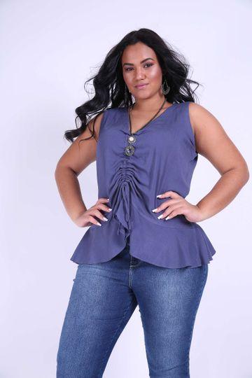 Regata Linho Plus Size Azul Marinho EX