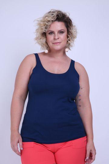 Regata Plus Size Cotton Azul Marinho G