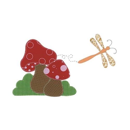 Régua Criativa para Patchwork Cogumelo com Libélula RA2-012 - Litoarte By Lili Negrão