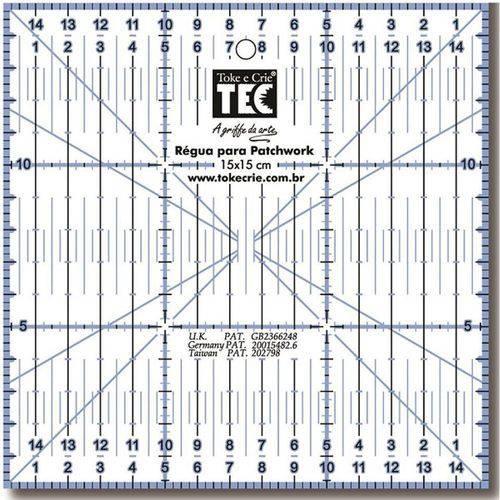 Régua para Patchwork Quadrada - 15 X 15cm