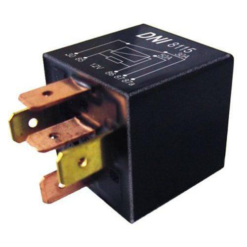 Relé Auxiliar 5 Pinos DNI 8115 Selado com Suporte Removível e Resistor - 12V 50/30A - Universal