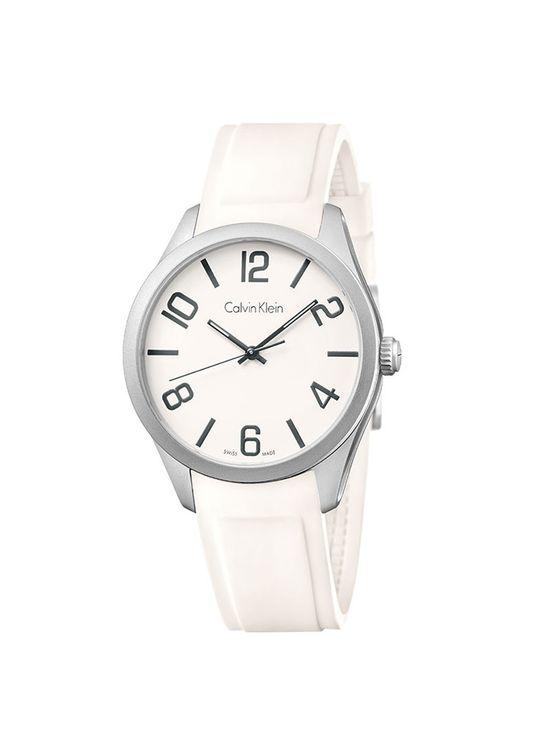 Relógio Calvin Klein com Pulseira de Silicone Branco