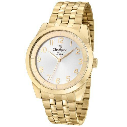 Relógio Champion Diva Feminino Dourado Cn29749h