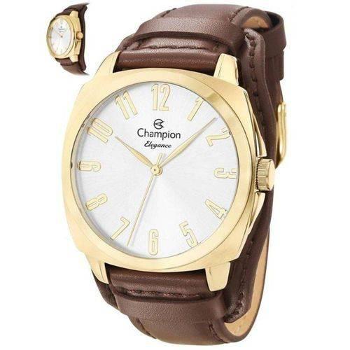 Relógio Champion Feminino Dourado Pulseira de Couro Cn26199s