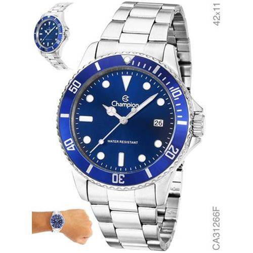 Relógio Champion Feminino Prata com Azul Ca31266f