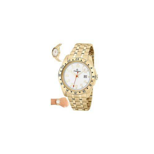 Relógio Champion Masculino Aço Dourado Calendário Ca31346h