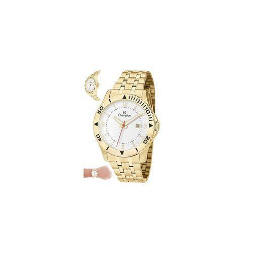 Relógio Champion Masculino Aço Dourado Calendário Ca31373h