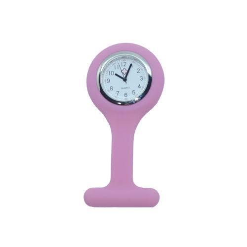 Relógio de Lapela em Silicone para Enfermeiras - Rosa