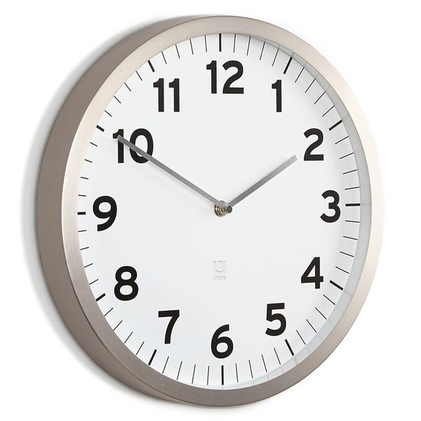 Relógio de Parede de Metal Anytime Umbra Branco 32 Cm - 26714