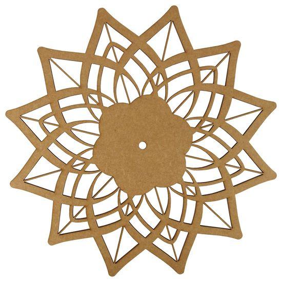 Relógio de Parede em MDF 30x30cm Flor de Lótus - Palácio da Arte