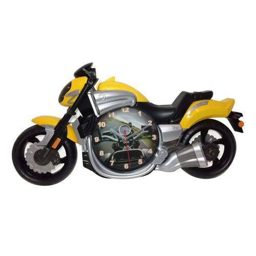 Relógio de Parede Moto Amarela 58cm Nataluz