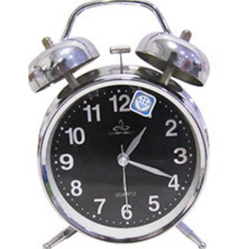 Relógio Despertador de Mesa a Pilha Cromado Fundo Preto