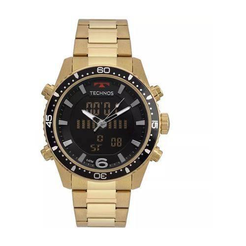 Relógio Masculino Technos BJK203AAD/4P 46mm Aço Dourado AnaDigi