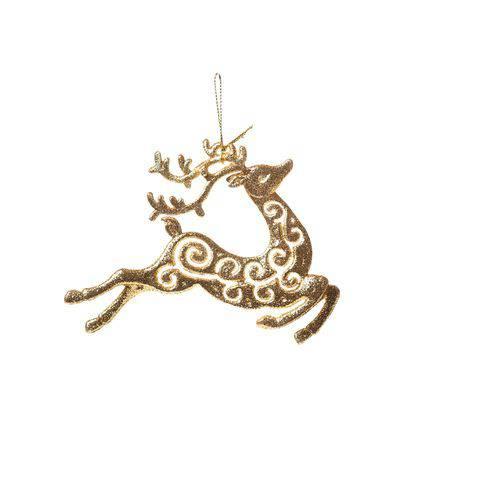 Rena Decoração Natal P/pendurar Árvore 10cm Dourado