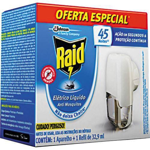 Repelente Elétrico Raid Líquido 45 Noites Aparelho com Refil