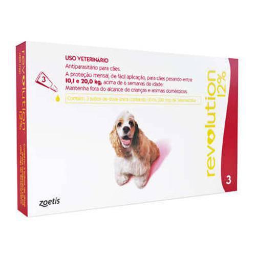 Revolution 12% Cães de 10 a 20kg - Caixa com 3 Unidades