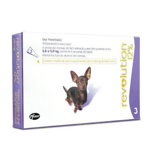 Revolution 12% Cães de 2,6 a 5kg - Caixa com 3 Unidades