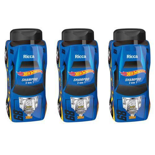 Ricca Hot Wheels 2em1 Turbinado Shampoo 300ml (kit C/03)