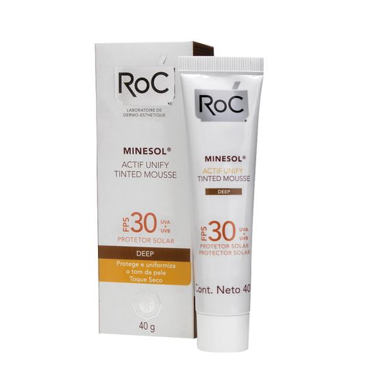 Roc Minesol Protetor Solar Actif Unify Tinted Mousse Deep Fps30 40g