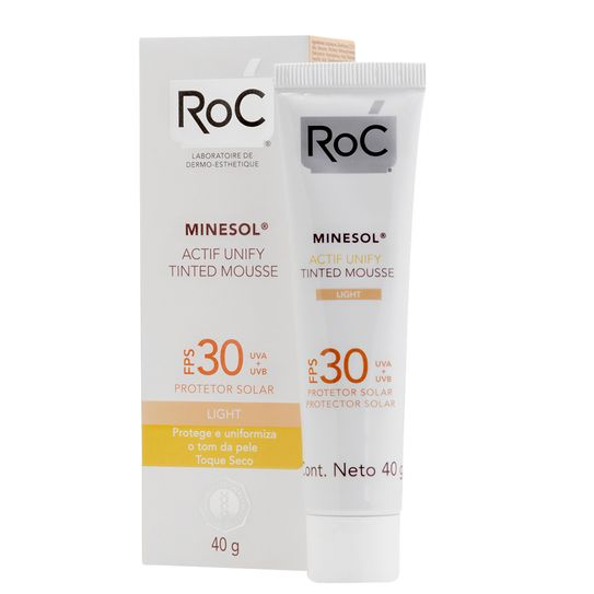Roc Minesol Protetor Solar Actif Unify Tinted Mousse Light Fps30 40g