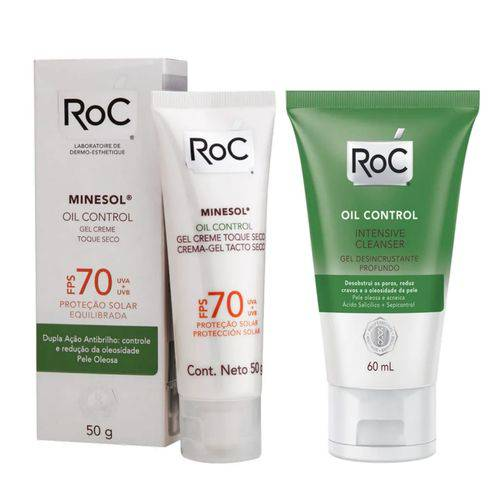 Roc Oil Control Gel Creme Fps 70 + Roc Intensive Cleanser Gel 60ml