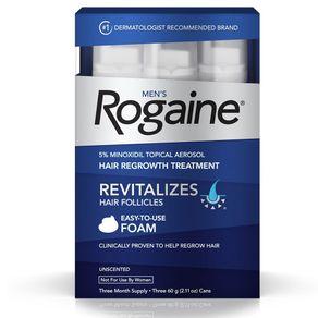 ROGAINE MEN'S FOAM 5% MINOXIDIL EM ESPUMA 5% TRATAMENTO PARA CRESCIMENTO DE CABELO PARA 3 MESES 60g