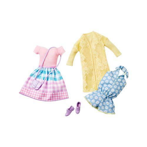 Roupa Barbie Conjunto Floral e Vestido Xadrez - Mattel