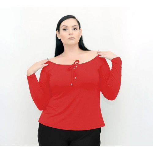 Roupa Feminina Blusa Plus Size Manga Longa Cordão Gola