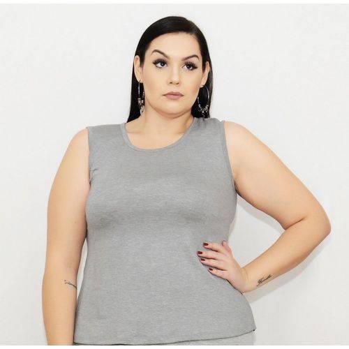 Roupa Feminina Plus Size Blusa Bata Regata com Abertura Nas Costas +56