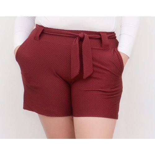 Roupa Feminina Plus Size Short com Forro Cintura Alta com Cinto Vinho