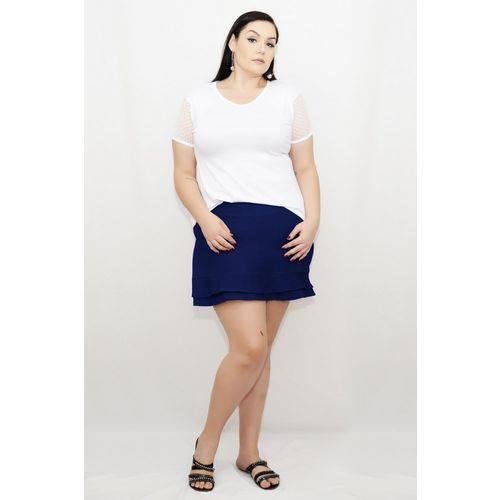 Roupa Feminina Plus Size Short Saia com Forro Cintura Alta