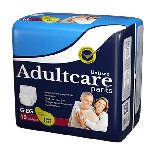 Roupa Íntima Unissex Adultcare Pants G/EG 16 Unidades