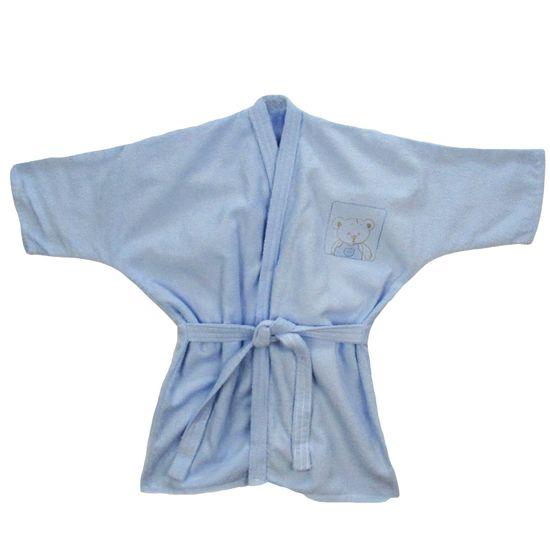 Roupão 0 a 3 Anos Masculino Azul Claro Bordado Ursinho