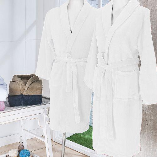 Roupão de Banho em Microfibra Fleece Gg - Andreza Branco