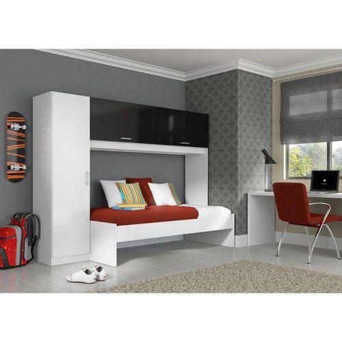 Roupeiro-cama Branco e Preto