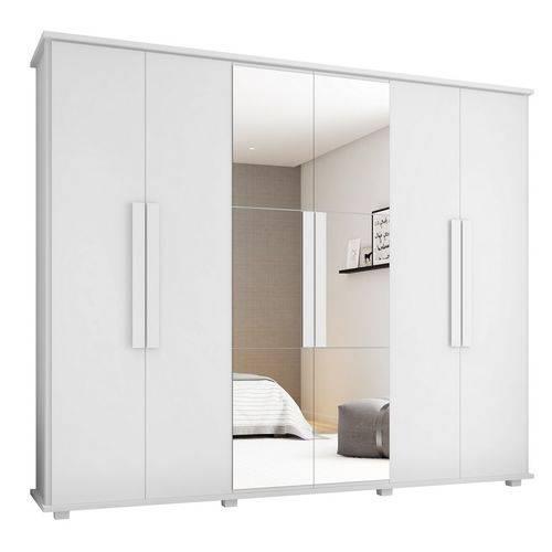 Roupeiro Canadá 6 Portas com Espelho e 4 Gavetas Branco - Rv Móveis