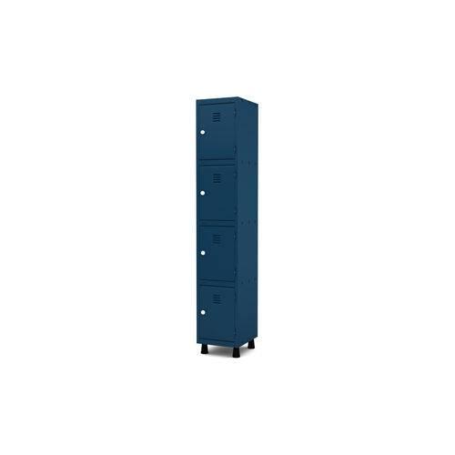 Roupeiro de Aço 1 Vão 4 Portas com Fechadura Pandin - Azul Del Rey
