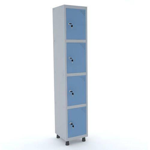 Roupeiro de Aço 1 Vão 4 Portas com Fechadura Pandin - Cinza e Azul Dalí