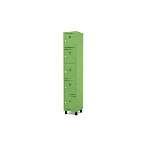 Roupeiro de Aço 1 Vão 5 Portas com Fechadura Pandin - Verde Miró