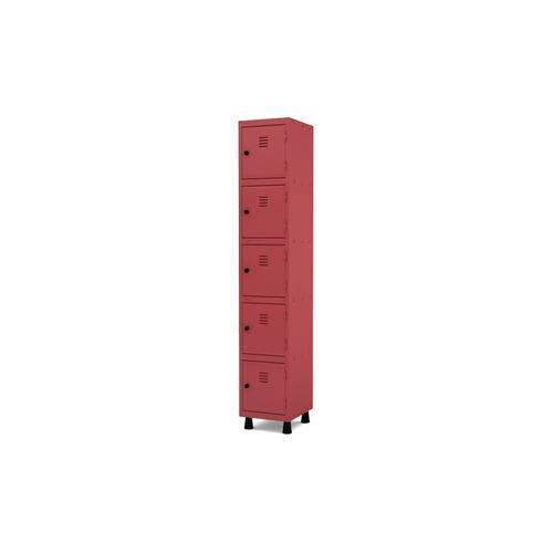 Roupeiro de Aço 1 Vão 5 Portas com Pitão Pandin - Vermelho