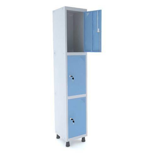 Roupeiro de Aço 1 Vão 3 Portas com Fechadura Pandin - Cinza e Azul Dalí