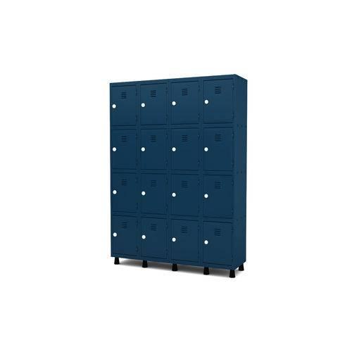Roupeiro de Aço 4 Vãos 16 Portas com Fechadura Pandin - Azul Del Rey